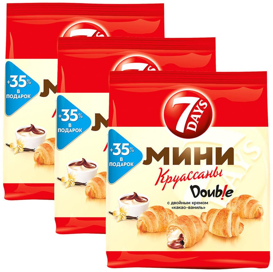 Мини-круассаны 7 Days Double Какао-Ваниль 300г (упаковка 3 шт.)