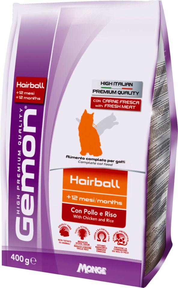 Сухой корм для кошек Gemon Cat Hairball для выведение шерсти с курицей и рисом 400г