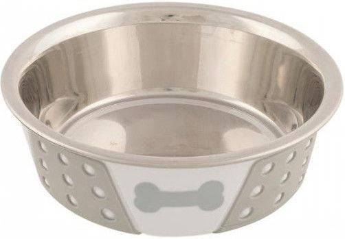 Миска для собак Trixie стальная белая/серая d-14см 400мл