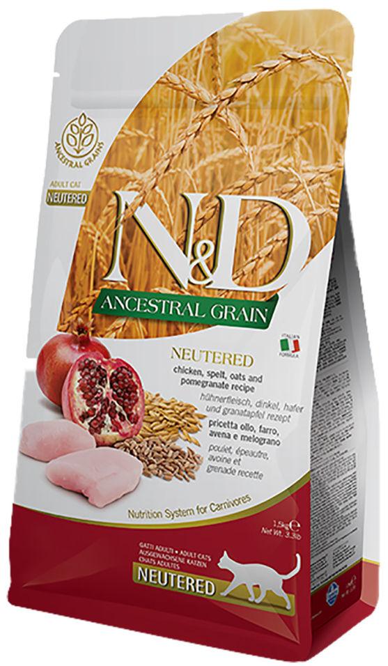 Корм для кошек Farmina N&D Low Grain Neutered для стерилизованных и кастрированных Курица с гранатом 5кг