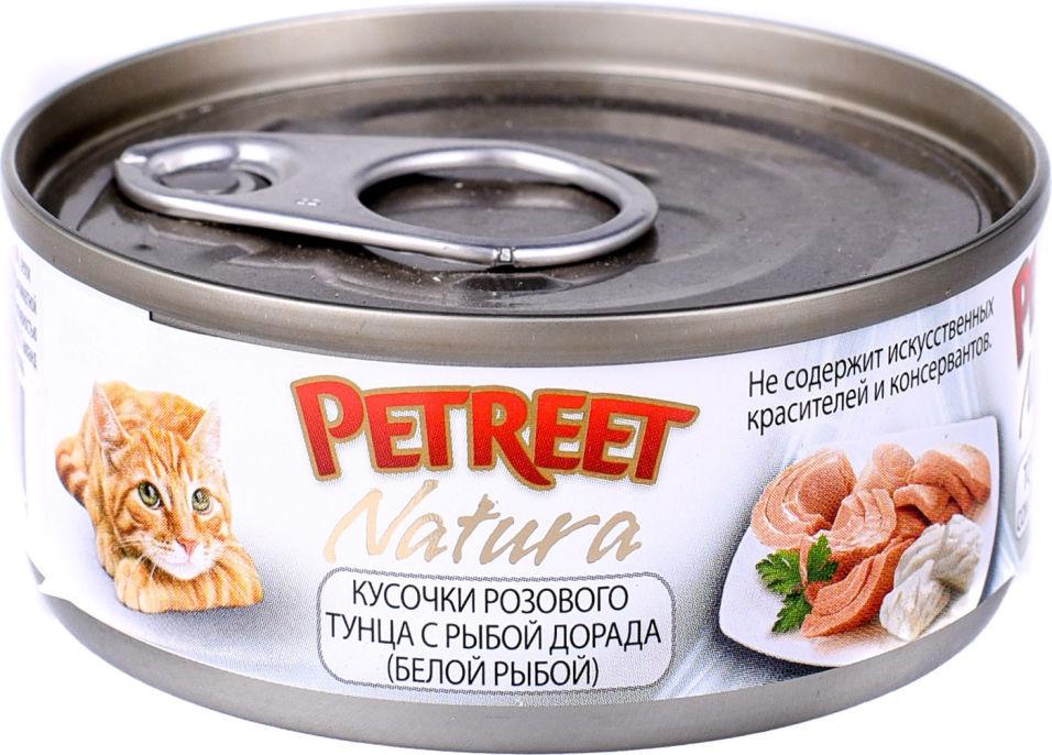 Корм для кошек Petreet Кусочки розового тунца с рыбой дорада 70г