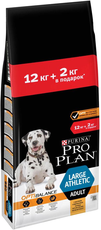 Сухой корм для собак Pro Plan Adult Large Athletic с курицей 12кг+2кг