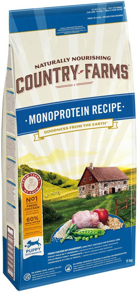Сухой корм для щенков Country Farms Monoprotein Recipe с курицей 11кг