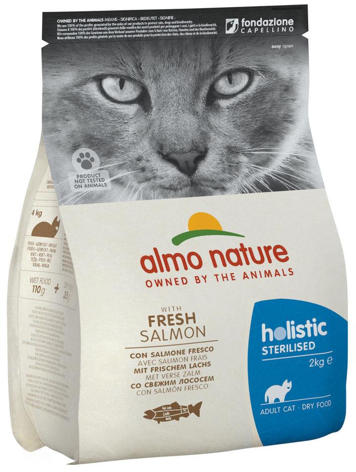 Сухой корм для кошек Almo Nature для стерилизованных с лососем и рисом 2кг