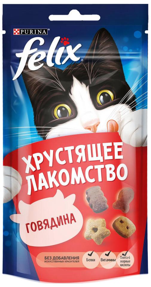 Отзывы о Хрустящем лакомстве для кошек Felix с говядиной 60г