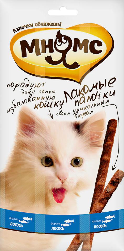 Отзывы о Лакомстве для кошек Мнямс Лакомые палочки с лососем и форелью 13.5см 3шт*5г