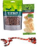 Набор лакомств для собак TiTBiT Косточки мясные с говядиной 145г + Косточки слоеные говяжьи 55г + Игрушка для собак Lilli Pet Веревочный узел 37см в ассортименте