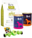 Набор корма для собак Brit Говядина и печень 850г + Сердце Печень 850г + Сухой корм для собак Brit Care Ягненок с рисом для мелких собак 3кг + Игрушка для собак Triol два узла 24см в ассортименте