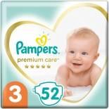 Подгузники Pampers Premium Care 6-10кг Размер 3 52шт