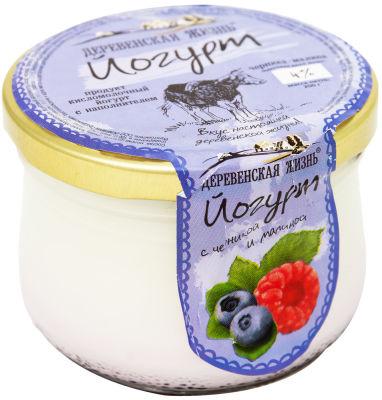 Йогурт Деревенская Жизнь Черника-малина 4% 200г