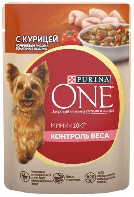 Корм для собак Purina One для здорового веса с курицей коричневым рисом и томатами в подливе 85г