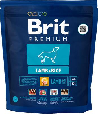 Сухой корм для собак Brit Premium Lamb&Rice с ягненком и рисом 1кг