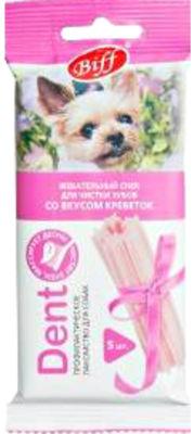 Лакомство для собак Biff Dent Жевательный снек для чистки зубов со вкусом креветок 35г