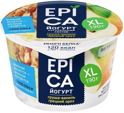 Йогурт Epica с грушей ванилью и грецким орехом 5.3% 190г