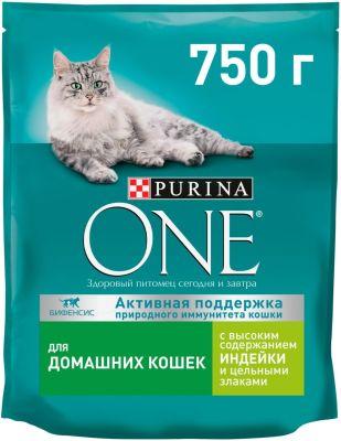 Сухой корм для кошек Purina One для домашних кошек с индейкой и цельными злаками 750г