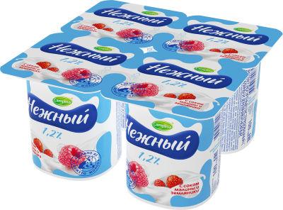 Продукт йогуртный Campina Нежный с соком малины и земляники 1.2% 4шт*100г