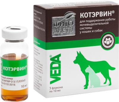 Кормовая добавка для собак и кошек Котэрвин Фито диета для поддержания работы мочевыделительной системы 3шт*10мл